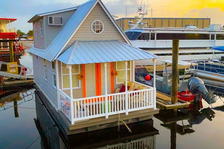 porch view of the famous tiny houseboat