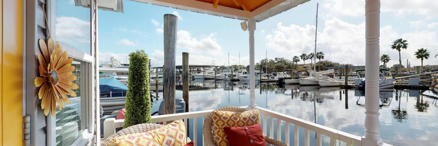 view from the porch of the famous tiny houseboat